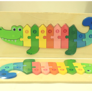 Kids 3D Crocodile Wooden Puzzle Toy Early Learning Colour Number Learning, Toys For Kids – KidsValley.pk