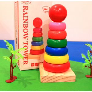 Rainbow Wooden Ring Tower – Multicolor 14cm Toy For Kids , Toy For Kids – KidsValley.pk