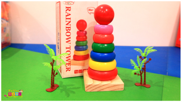 Rainbow Wooden Ring Tower - Multicolor 14cm