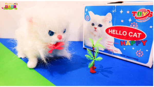 Beautiful walking toy cat with sound and light