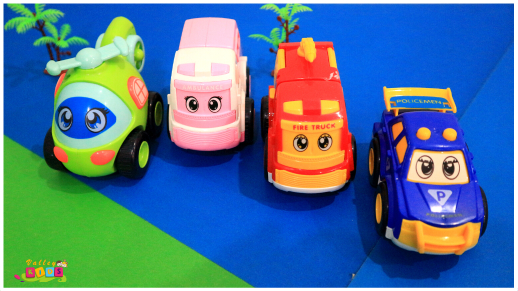 Unbreakable Automobile Car Toy Set , Pull Back Car Truck Toy Set for Kids - 4 Toys . Ambulance, Fire Truck, Helicopter, Police car