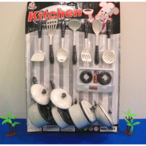 Kitchen Toy Set For Kids - 17 Pcs - White & Black